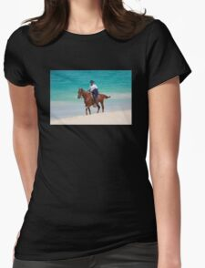 Horse rider on a Tropical Beach in Florida Womens Fitted T-Shirt