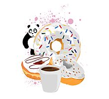 Panda & White Donuts Photographic Print