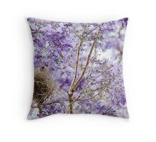Bird in Jacaranda Tree Throw Pillow