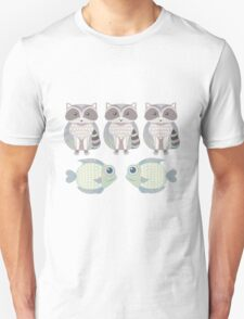 Three Raccoon and Two Fish T-Shirt