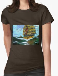 Columbus' Sailing Ships Womens Fitted T-Shirt