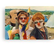 Happy Girls at Glastonbury festival . Canvas Print