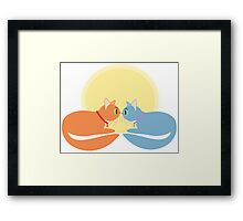 Two Cats And The Moon Framed Print