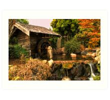 Mill shed with water wheel Art Print