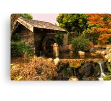 Mill shed with water wheel Canvas Print