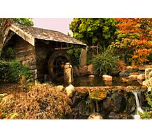 Mill shed with water wheel Photographic Print