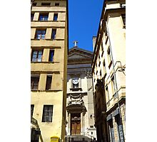 Church framed by buildings, Lyon Photographic Print