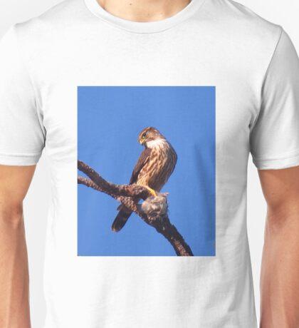 Sharp-shinned Hawk with Cedar Waxwing Unisex T-Shirt