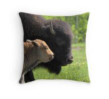Ma Bison with Calf Throw Pillow