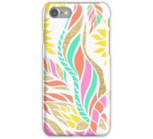 Summer bright modern coral gold turquoise floral  iPhone Case/Skin