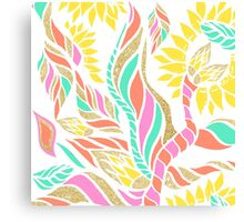 Summer bright modern coral gold turquoise floral  Canvas Print