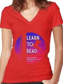 Super Smash Bros. LEARN TO READ  Women's Fitted V-Neck T-Shirt