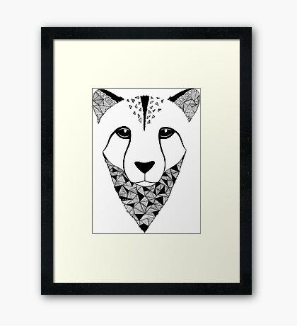 Cheetah black and white Framed Print