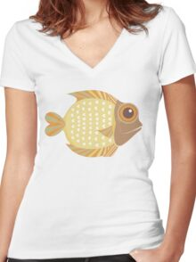 Friendly Fish Women's Fitted V-Neck T-Shirt