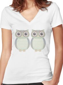 Owl Twins Women's Fitted V-Neck T-Shirt