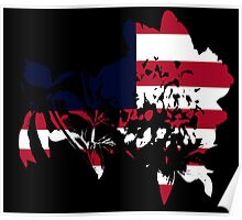 Flag Peony Black Background Poster