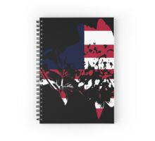 Flag Peony Black Background Spiral Notebook