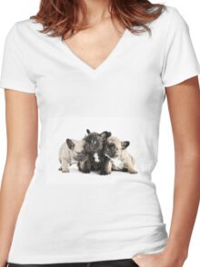 Frenchie Pals Women's Fitted V-Neck T-Shirt