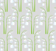 White Digital Lily of the Valley Floral Pattern by tanyadraws