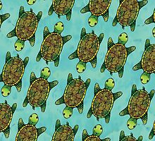 Green Watercolour Ink Drawn Turtle Pattern by tanyadraws