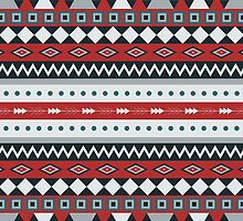BLUE/RED AZTEC PATTERN by Crimson-Shark