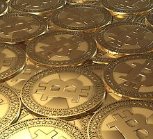 Gold coins bitcoin by VallaV