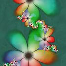 Rainbow Flowers Keep Cool Against a Plaster Mint Wall by lacitrouille