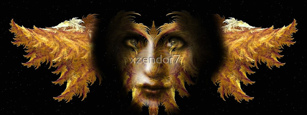 Gold Girl Fractal Feather Fluff by xzendor7