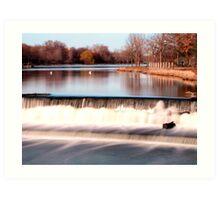 Dam on Fox River in Waukesha, WI  Art Print