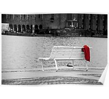 Solemn bench with blanket Poster