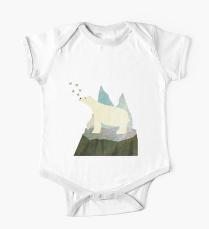 Playful Polar Bear in the Northern Lights One Piece - Short Sleeve