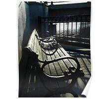 Inviting Park Bench by Bridge across the Fox River in Waukesha Poster