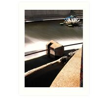 Above the Fox River Dam in Waukesha. Dragonfly in Background Art Print