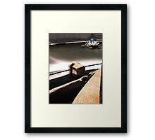 Above the Fox River Dam in Waukesha. Dragonfly in Background Framed Print