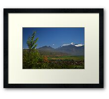 A Village Below and Mountains Above  Framed Print