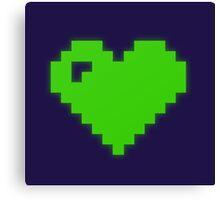 Green Pixel Heart Canvas Print