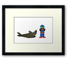 LEGO Diver & Shark Framed Print