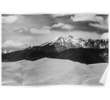 The Great Sand Dunes and Sangre de Cristo Mountains - BW Poster