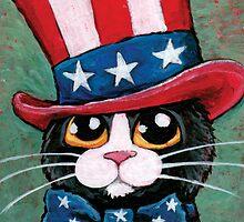 Patriotic Tuxedo Cat (USA) by Lisa Marie Robinson