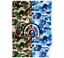 GREEN AND BLUE CAMO / SHARK Poster