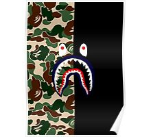 GREEN CAMO ON BLACK / SHARK Poster
