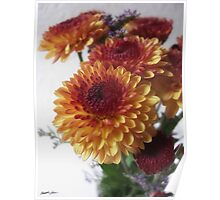 Brown and Gold Chrysanthemums 2 Poster