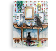 Cats in my Powder Room Metal Print