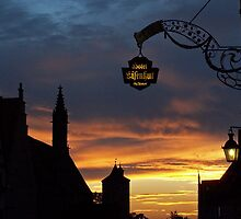 Rothenburg  - Burgtor at Dusk #2 by David J Dionne