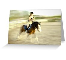 Girl on a horse crossing time Greeting Card