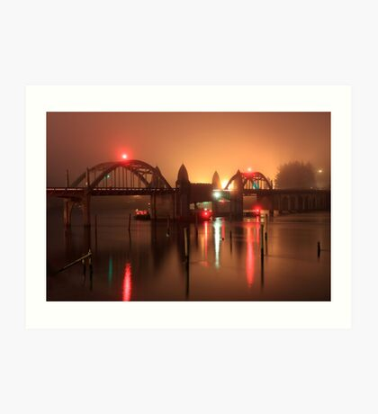 Siuslaw River Bridge At Night Art Print