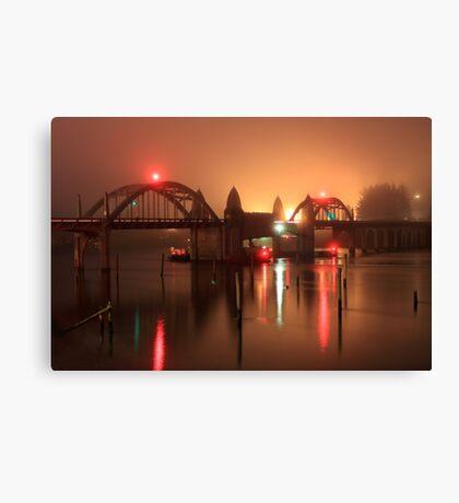 Siuslaw River Bridge At Night Canvas Print