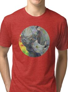 Rhinoceros painting - 2012 Tri-blend T-Shirt