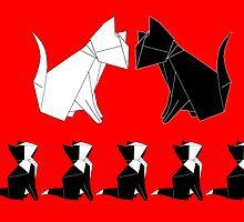 Origami Cats (Red) by kirbeekatz