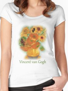 Vase with Twelve Sunflowers, Vincent van Gogh Women's Fitted Scoop T-Shirt